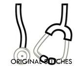 Stethoscope Applique and Machine Embroidery Digital Design File 4x4 5x7 6x10