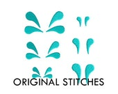 Splashes Mini Fill Stitch Machine Embroidery Design File 1/2 Inch 3/4 Inch 1 inch