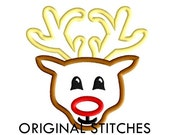 Reindeer Applique and Machine Embroidery Design File 4x4 5x7 6x10 7x11