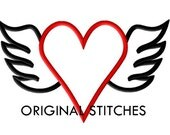Winged Heart Applique and Embroidery Digital Design File 4x4 5x7 6x10