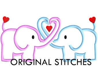 Elephants Applique and Embroidery Digitized Digital Design File 5x7 6x10 7x11