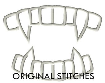 Vampire Teeth Fangs Applique and Embroidery Design File 4x4 5x7 6x10