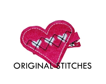 Argyle Heart Valentine's Day Feltie and Machine Embroidery Digital Design File