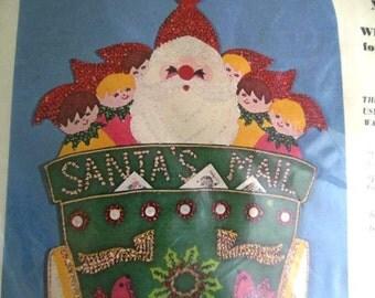 Vintage Sultana Christmas Needlecraft Kit, Jeweled Christmas Santa's Mail Bag, Christmas Card Holder, Kit 1208, New In Package