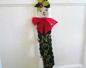Vintage Christmas Door Decor or Wall Decoration, Handmade Kitsch Elf Felt Decoration