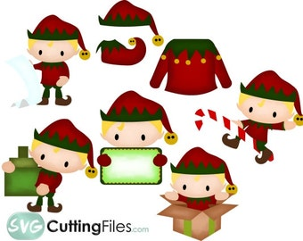 Elf Life SET collection holiday christmas SVG cutting files cricut  silhouette cutting machines,  for card making and scrapbooking