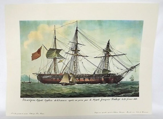 RESERVED - French ship print from the series Portraits de Navires - Proserpine