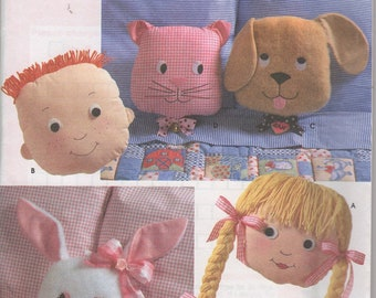 Simplicity 7871 Cat Dog Bunny Boy and Girl Pillow Pattern
