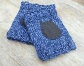 Blue Fingerless Gloves Ladies Hand Knit Cotton Fingerless Gloves WinterFashion Black Leather Owl Applique Design