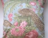 Two  26 x 26  Designer Decorative Pillow Covers - 100% Cotton - Bird - Peacock