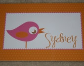 Personalized Sweet Bird Placemat