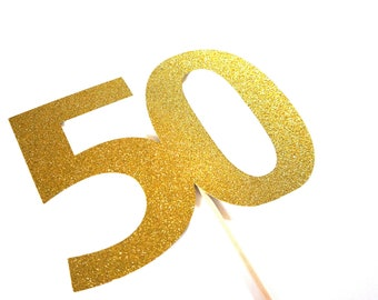 Photo Booth Props - GLITTERY GOLD 50 on a stick  -  50th Birthday, 50th Anniversary - GLITTER Photobooth Prop