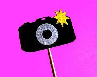 Photo Booth Props - Camera on a stick - GLITTER Photobooth Prop - Great for weddings, birthdays, parties