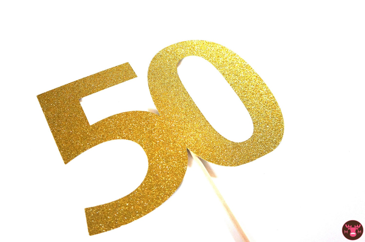 Photo Booth Props Glittery Gold 50 On A Stick 50th