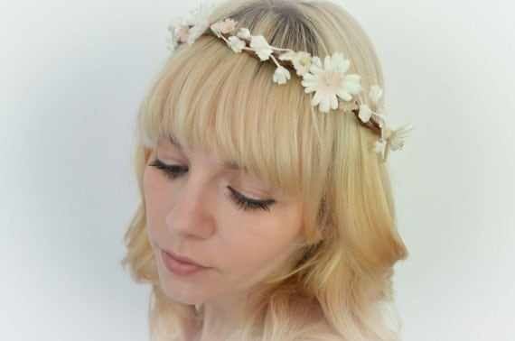 Woodland Bridal Crown / Halo with Vintage Ivory and Blush Flowers 'Pixie Pixie'