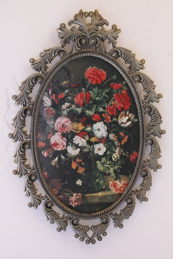 Vintage Pewter look ornate frame made in Italy