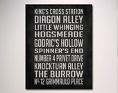 Harry Potter Inspired Subway Sign Poster / Typography / Wall Art / Choose Your Size