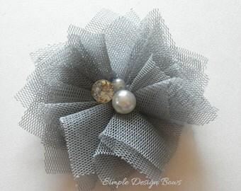 "Grey Hair Flower - Grey Flower Clip - Tulle Hair Flowers - Tulle Flower Clip - 2"" LUCY FLOWER - Mesh Flower - Hair Clip or Brooch"