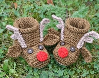 KNITTING PDF PATTERN - Reindeer Baby Booties - Christmas knitting