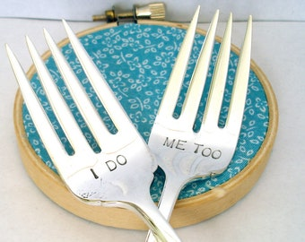 Wedding Forks, I Do, Me Too, Hand Stamped Vintage Mr. Mrs. Wedding Cake Forks