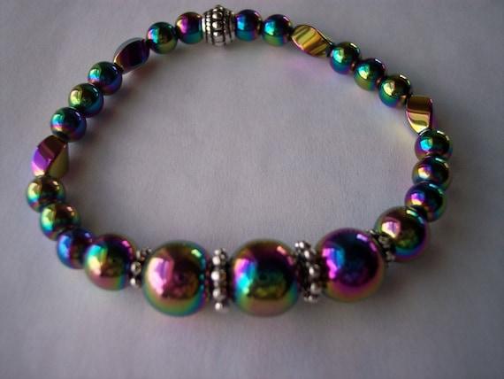 Rainbow High Power Magnetic Hematite Stretch Bracelet