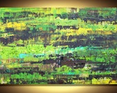 "Lime Green Brown Abstraction - COA - Huge Flowers Artwork Original Art Palette Knife Modern Painting 46""x30"" (115x75cm)  By Luba Lubin"