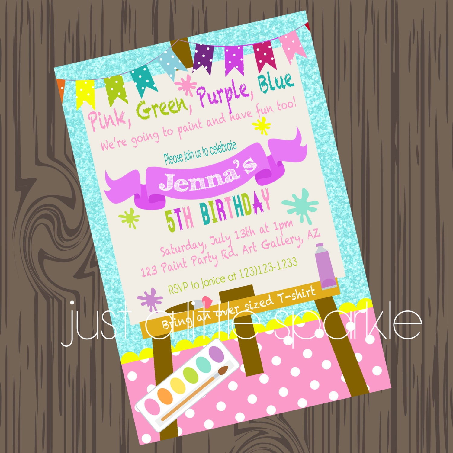 Paint Party Invitation Art Supply party invitation Paint – Painting Birthday Invitations