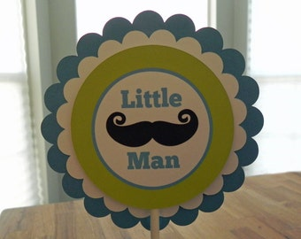 Cake Topper: Little Man Mustaches and Ties - Boy Baby Shower or Kids Birthday Party Decorations
