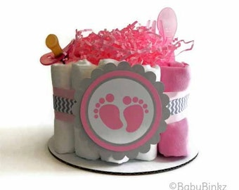 Baby Footprint Diaper Cake - Pink and Grey Chevron One Tier  Baby Shower gift or centerpiece girl