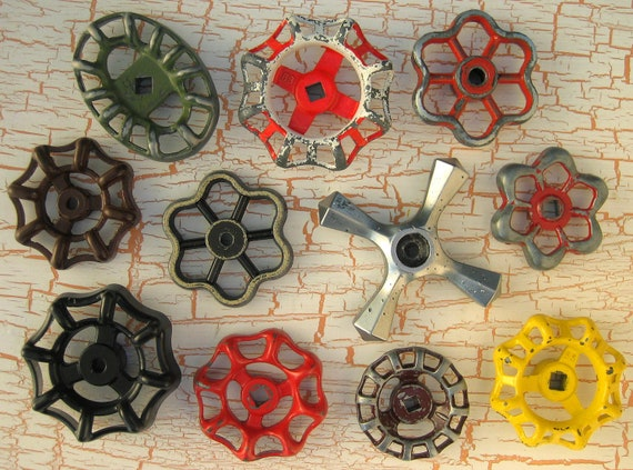 Colorful group of Vintage Valve Handles, Garden decor, Steampunk,  Assemblage, Industrial, Collection of 11