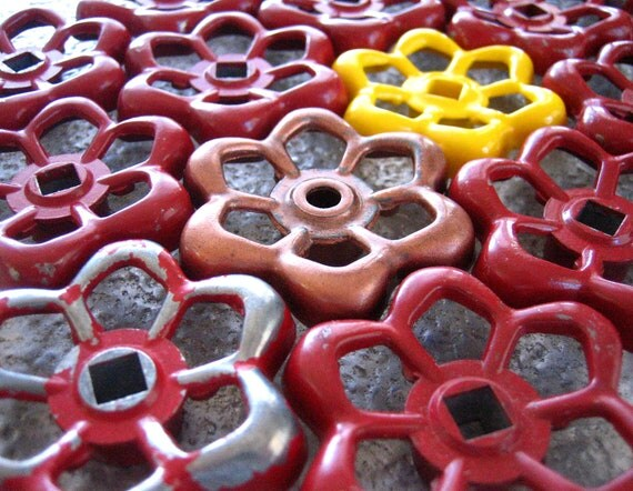 Mostly Red group of Vintage Valve Handles, Garden decor, Steampunk,  Assemblage, Industrial Decor, Collection of 16