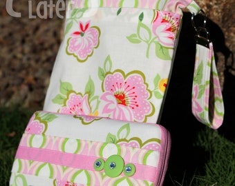 Travel Diaper Changing Set (Girl) - Wet Bag & Wipes Case - Floral - Pink and Green