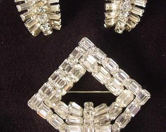 Art Deco Crystal Rhinestone Brooch and Earrings Set - Wedding - Bridal Jewelry