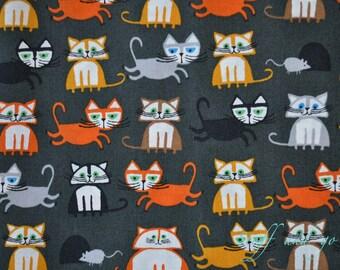"Cats - Organic Cotton - Happy Drawing, Too - Cloud9 Fabrics - 15.5"" (40cm)"