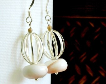 Mother of Pearl and Silver Dangle Earrings