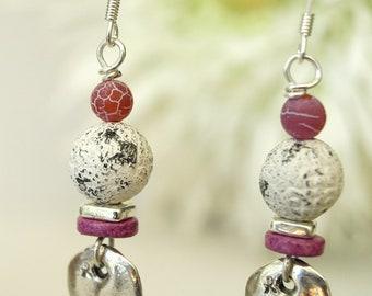Hot Pink & Gray Vintage Patine Dangle Earrings - Ceramic  Pink Flambé Agate Earrings