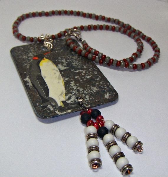 Christmasinjuly, Sale, Penguin Art Necklace Pendant - Animal Necklace - Mixed media w beaded dangle