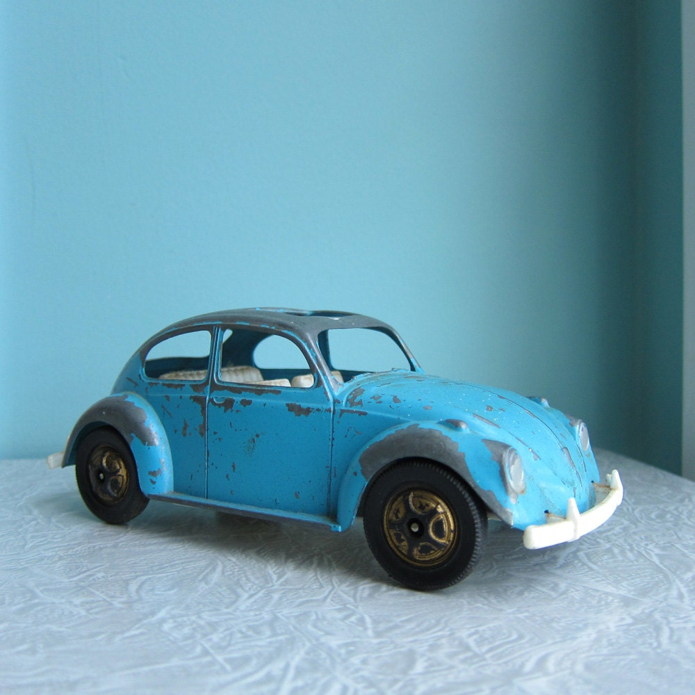1990 Volkswagen Beetle: VW Volkswagen Beetle Bug Turquoise Toy Car By RetroGirlRedux