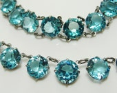 1930s Deco Necklace Bracelet Sterling Silver & Openback Aqua Blue Crystals Old Hollywood Jewelry // Sublime Rare Color