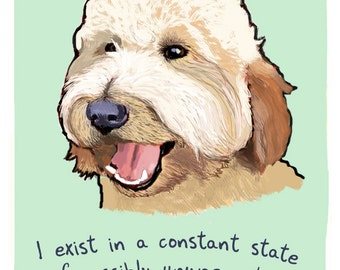 Labradoodle 5x7 Print of Original Painting with phrase