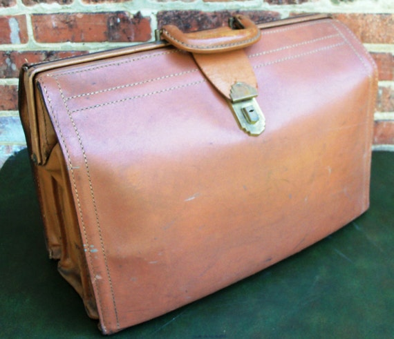 Vintage REXBILT Lawyers Briefcase Brown Cowhide Leather 1940s