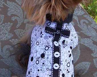 Dog Harness Vest Bubbles in Black and white with bow tie Size X-Small for toy dogs