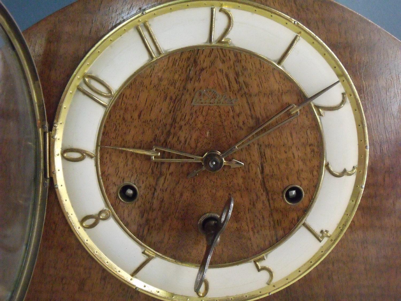 Antique German Mantle Clock 1940s Lauffer Black Forest