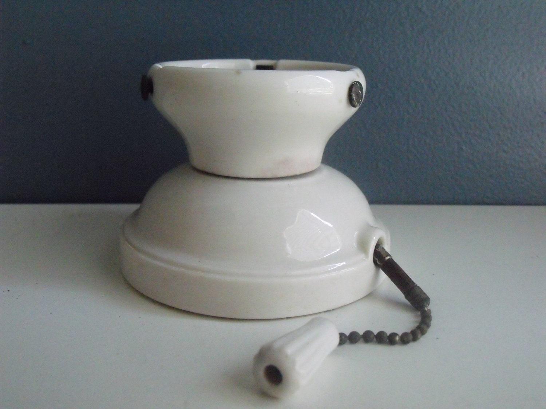 Antique Porcelain Light Fixture Ceiling Or Wall Mount White