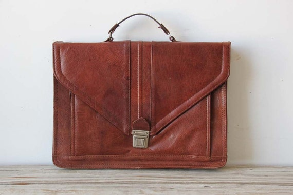 Brown Leather Portfolio Briefcase