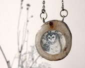 Winter Owl Necklace- Hand painted reclaimed wood owl necklace, under 50 for women
