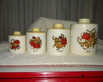 Vintage METAL CANISTERS Ransburg Set of four Round U.S.A.
