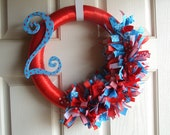 Red and Turquoise Number Ribbon Wreath - ribbon wreath first birthday party decoration birthday wreath number wreath