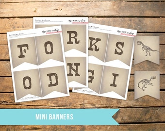 Fossil Hunter Mini Banners (Set of 4) - Food, Drinks, Gifts and Dinosaur Images