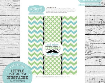 Personalized Little Man or Little Mister Mustache Chocolate Bar Favor Wrapper
